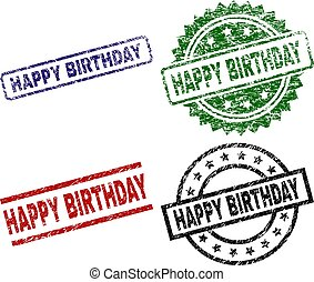 grunge, timbre, cachets, anniversaire, textured, heureux