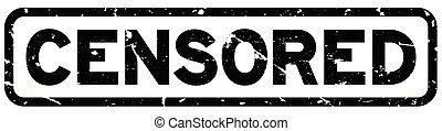 grunge, timbre, caoutchouc, arrière-plan noir, cachet, mot, blanc, censuré
