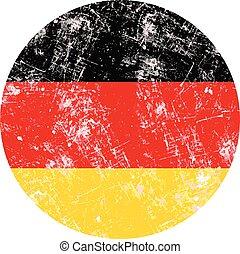 grunge, timbre, country., illustration, drapeau, vecteur, allemagne, rond
