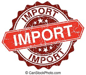 grunge, timbre, importation, blanc, rond, rouges