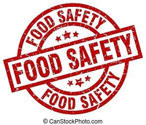 grunge, timbre nourriture, sécurité, rond, rouges