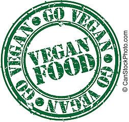 grunge, timbre nourriture, vegan, caoutchouc, vec