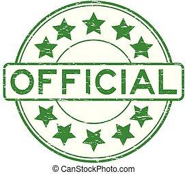 grunge, timbre, officiel, caoutchouc, vert, étoile, rond, icône