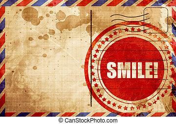 grunge, timbre, poste aérienne, fond, sourire, rouges