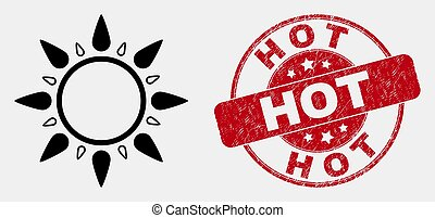 grunge, timbre, soleil, coup, chaud, vecteur, cachet, icône