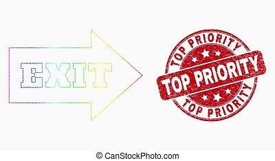 grunge, timbre, sommet, spectre, priorité, vecteur, sortie, pixelated, flèche, cachet, icône
