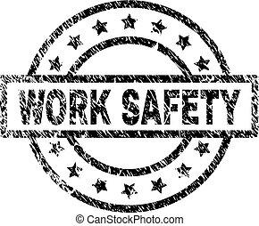 grunge, timbre, travail, sécurité, textured, cachet