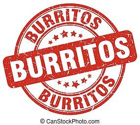 grunge, timbre, vendange, caoutchouc, burritos, rond, rouges