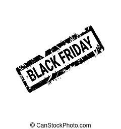 grunge, timbre, vendredi, caoutchouc, arrière-plan noir, blanc