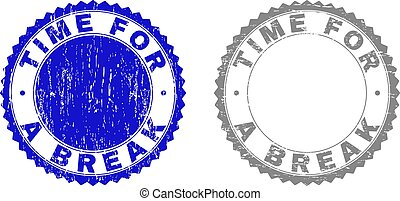 Grunge TIME FOR A BREAK Textured Stamp Seals