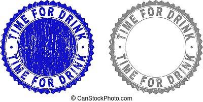 Grunge TIME FOR DRINK Textured Stamp Seals