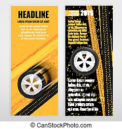 Grunge Tire banner - Vector automotive banner template. ...