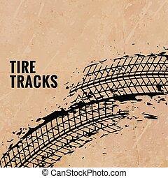 grunge tire print marks background