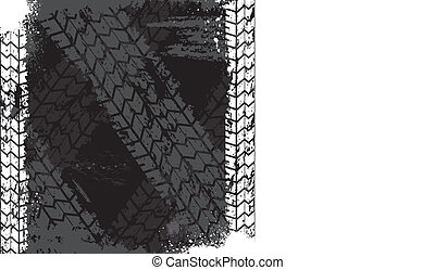 Grunge tire track backgound - Black grunge background with...