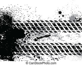 Grunge tire track background with blots
