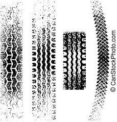 Grunge Tire tracks - A collection of 4 Grunge tire tracks, ...