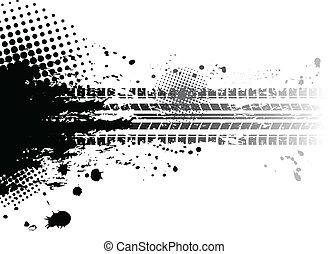 Grunge tire tracks background - Black tire track banner
