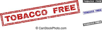 Grunge TOBACCO FREE Scratched Rectangle Watermarks