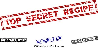 Grunge TOP SECRET RECIPE Textured Rectangle Watermarks