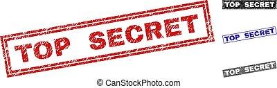 Grunge TOP SECRET Textured Rectangle Stamp Seals