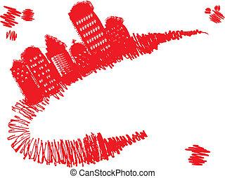 Grunge town stands on red grunge curve, vector illustration