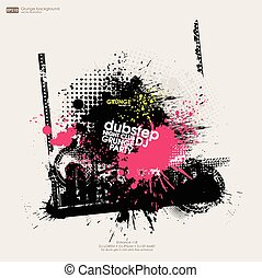 Grunge trace of tire. Template grunge poster for party. Grunge banner with an inky dribble strip with copy space
