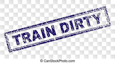 Grunge TRAIN DIRTY Rectangle Stamp