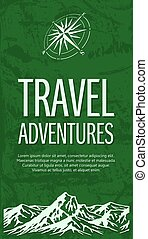 Grunge travel banner with compass rose