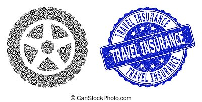 Grunge Travel Insurance Round Seal and Recursion Tire Wheel Icon Collage