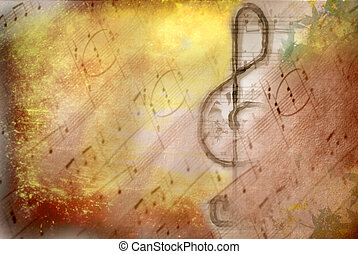 grunge treble clef musical poster - grunge treble clef...