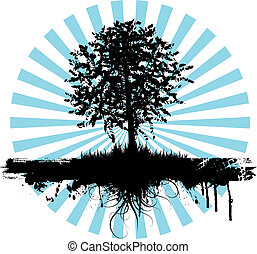 Grunge tree - Abstract grunge background with a silhouette...
