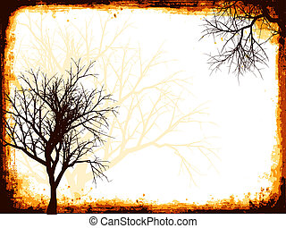 Silhouette of a winter tree on a grunge frame