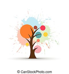 grunge tree with white background, vector illustration.