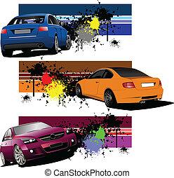 grunge, tres, banderas, coches
