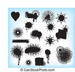 grunge tribal black symbols, tatoos or patterns - collection...