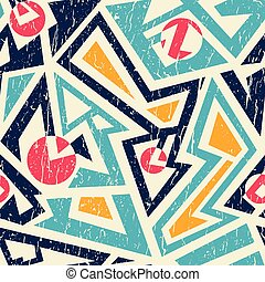 Grunge tribal seamless pattern - Abstract vector seamless...