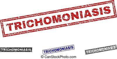 Grunge TRICHOMONIASIS Textured Rectangle Stamp Seals