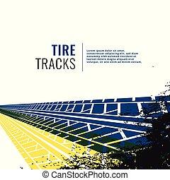 grunge, trilha pneu, fundo, marcas, impressão