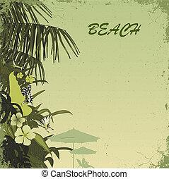 beach - grunge tropic beach palms on the green background