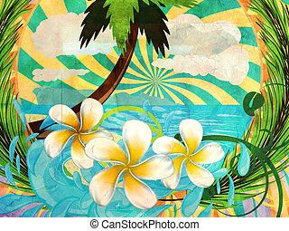 Grunge tropic island - Sunny tropical island with palm tree...