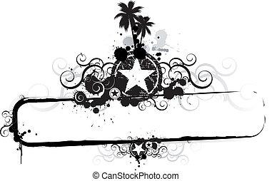 grunge, tropisk, banner