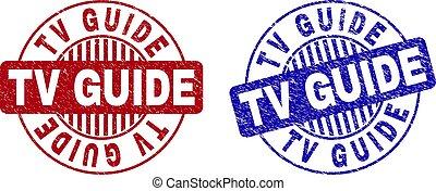 Grunge TV GUIDE Textured Round Stamp Seals
