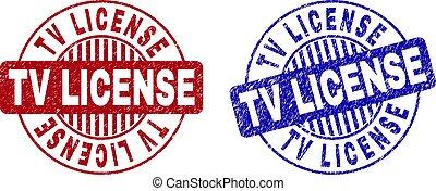 Grunge TV LICENSE Scratched Round Stamp Seals