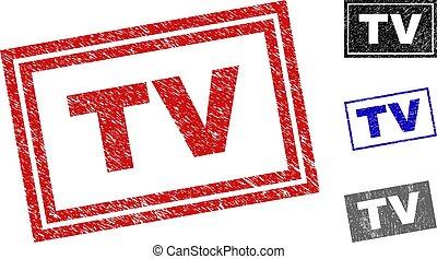 Grunge TV Scratched Rectangle Stamp Seals