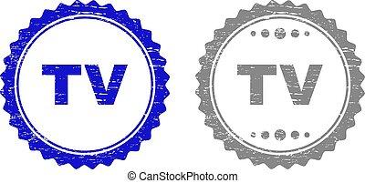 Grunge TV Scratched Stamp Seals
