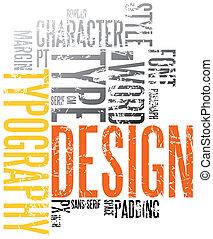 grunge, typografie, achtergrond