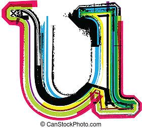 grunge, u, coloridos, letra