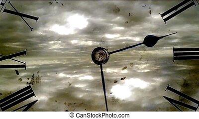 grunge, uhr, und, clouds., zeit- versehen