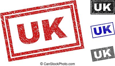 Grunge UK Textured Rectangle Stamps