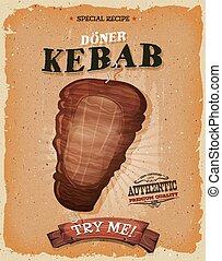 grunge, und, weinlese, kebab, butterbrot, plakat